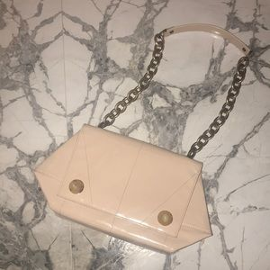 Lanvin baby pink patent leather chain bag